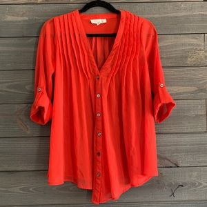 Olive and Oak Sheer Red Blouse